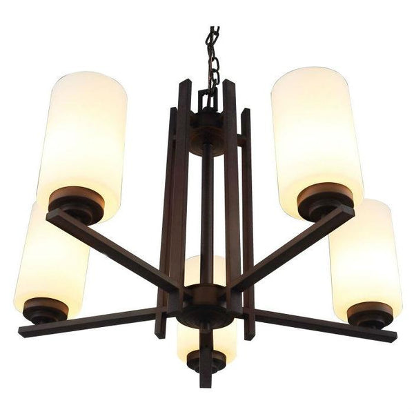 Farmhouse Dimmable Bronze 5 Column Lights Metal Wood Chandelier