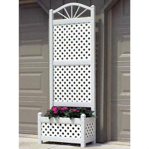 6.5-Foot White Lattice Planter Trellis
