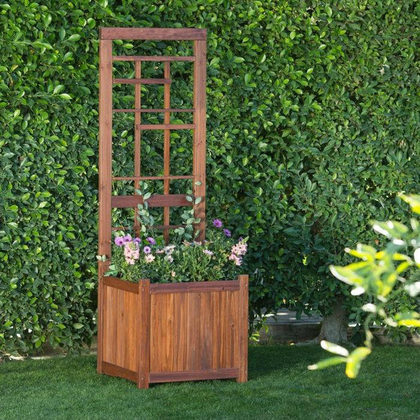 68 Inch Wood Raised Bed Planter Trellis
