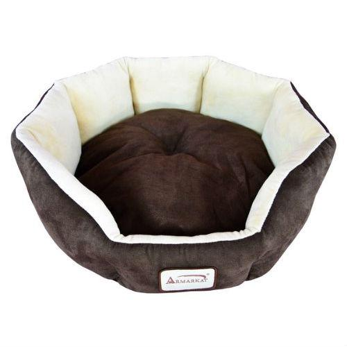 Mocha Beige Round Oval Pet Bed for Small Dogs or Cats