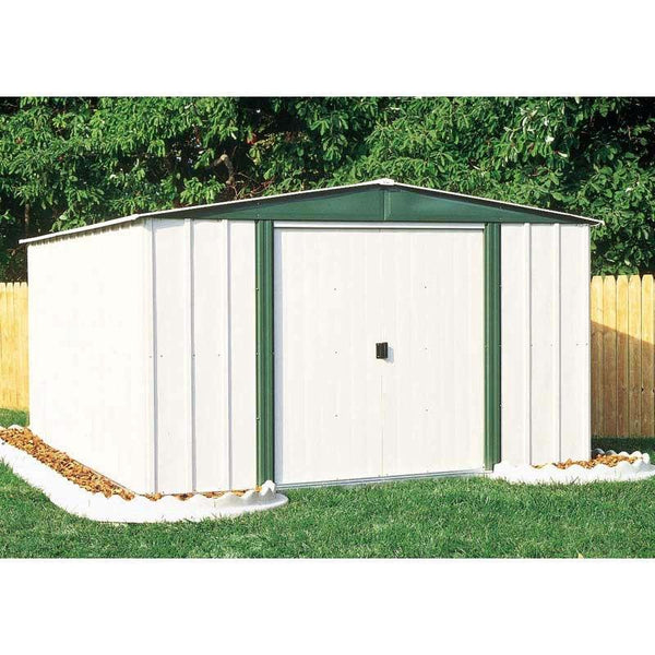 Outdoor 6-Ft x 8-Ft Steel Storage Shed with Sliding Doors in White Eggshell & Green Color