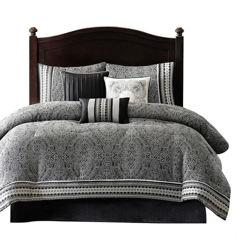 King Size 7 Piece Comforter Set With Damask Pattern In Black White Gray