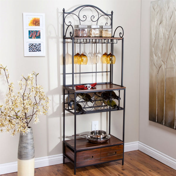 Sturdy Metal & Wood Bakers Rack With Wine Glass & Bottle Storage