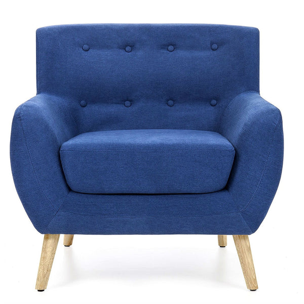Blue Linen Upholstered Armchair with Mid-Century Modern Style Wood Legs