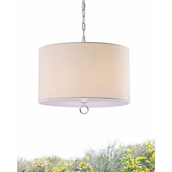 Beige Fabric 3-light Chrome Chandelier
