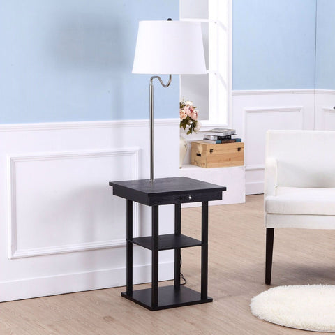 2-In1 Modern Side Table Floor Lamp With White Shade & USB Ports
