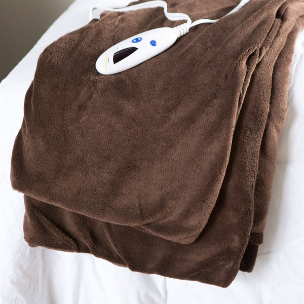 Super Soft Microplush Heated Electric Warming Throw Blanket In Chocolate Brown