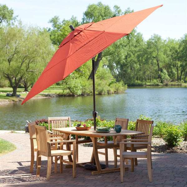 11-Ft Patio Umbrella with Brick Red Canopy & Metal Pole