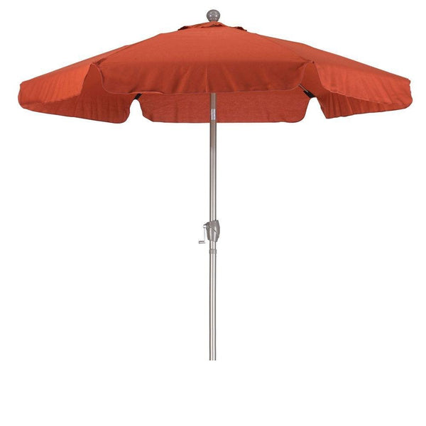 Brick Red 7.5-Ft Patio Umbrella with Tilt and Metal Pole in Champagne Finish