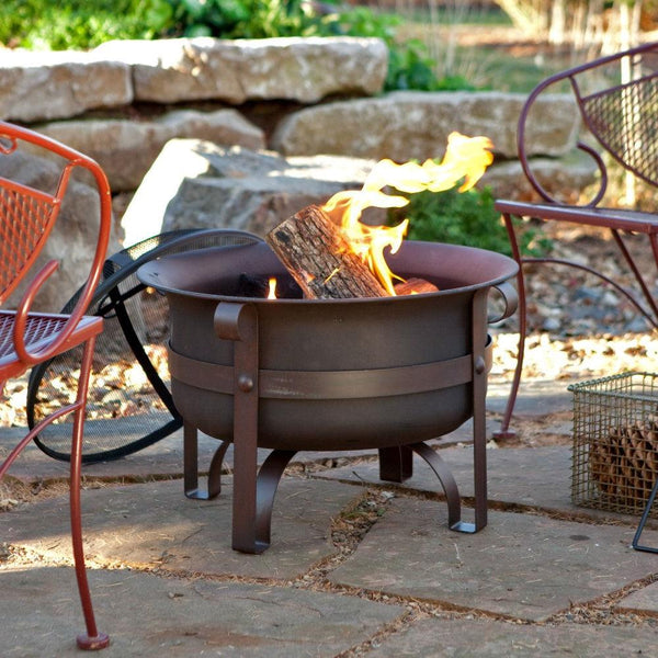23-inch Heavy Duty Steel Fire Pit Cauldron with Stand & Cover