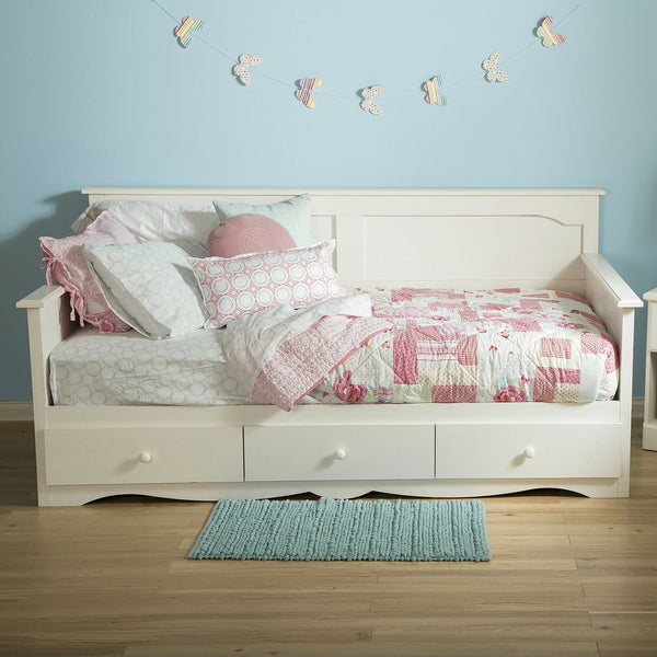 Twin Size Country Style White Wood Daybed With 3 Storage Drawers
