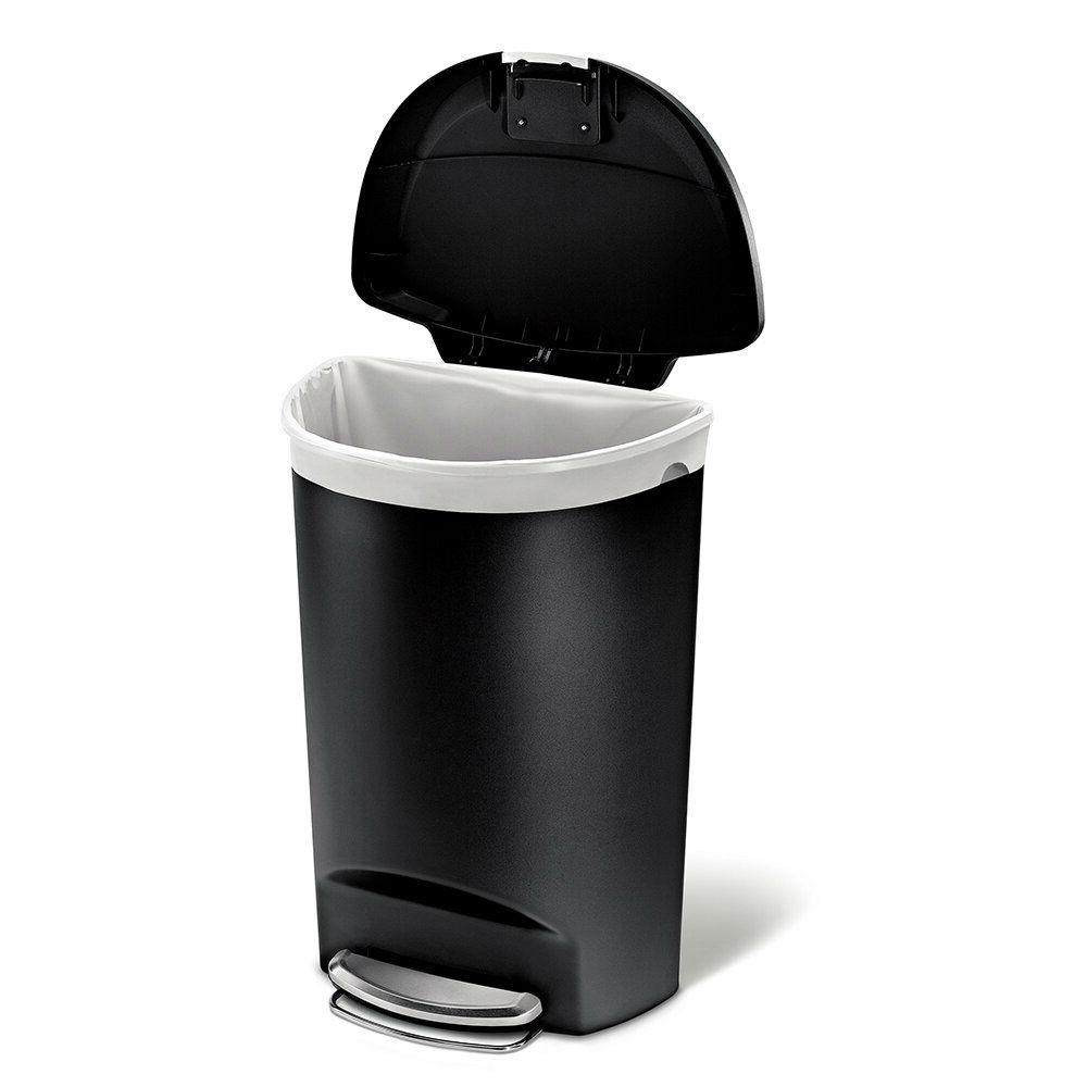 Black 13-Gallon Kitchen Trash Can with Foot Pedal Step Lid