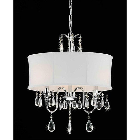 3-Light Chrome Crystal Chandelier With Fabric Shade