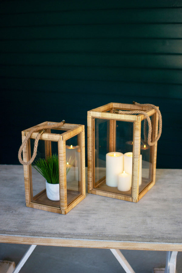 Set Of 2 Rectangle Rattan & Glass Lanterns