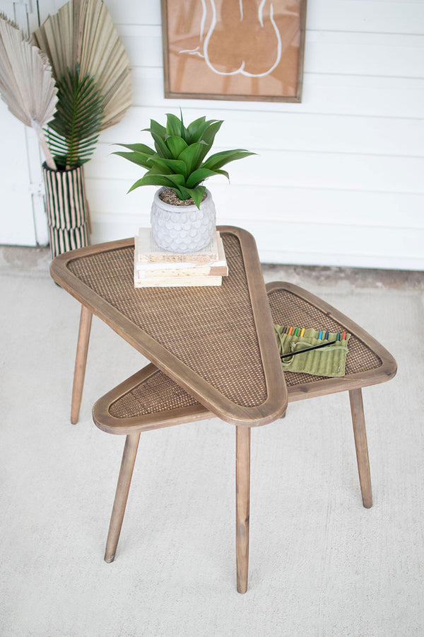 Set Of 2 Wooden Triangle Nesting Tables With Woven Rattan Tops
