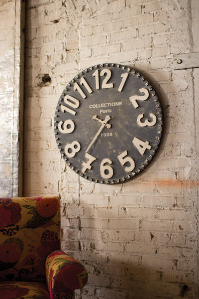 Wooden Wall Clock-Black & White - Hearts Attic