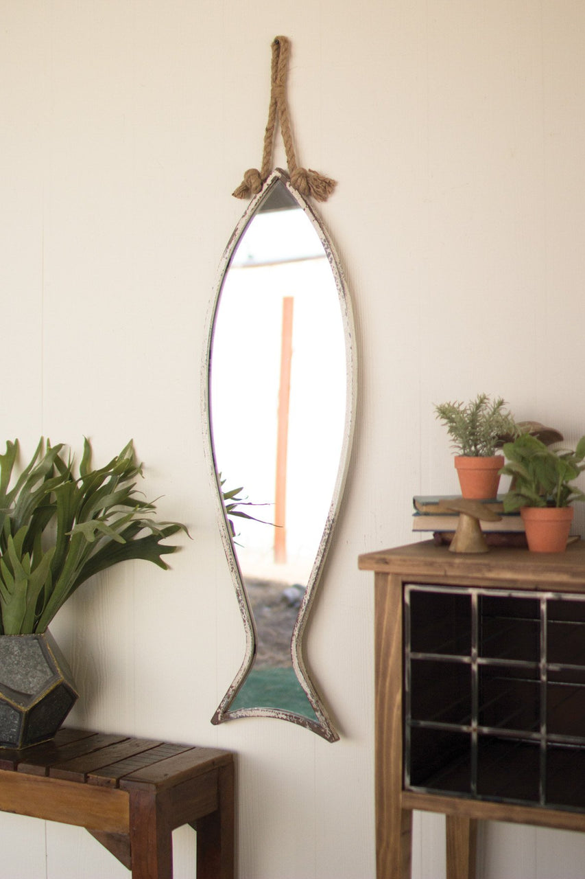 Vertical Fish Mirror With Rope Hanger