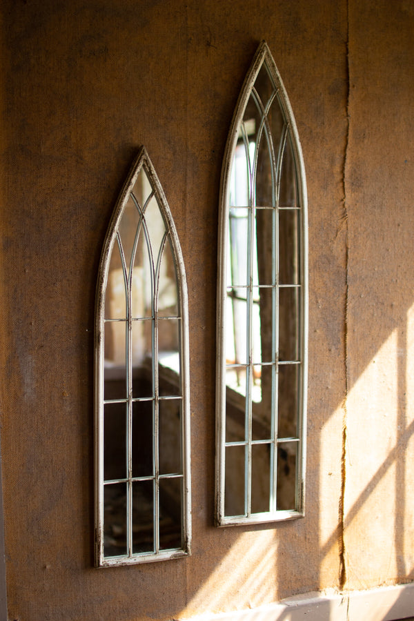 Set of 2 Tall Metal Painted Iron Church Mirrors