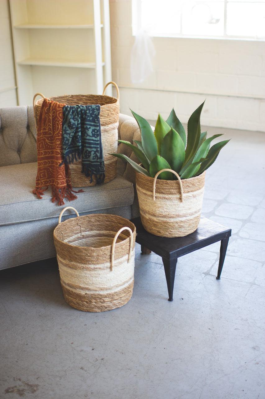 Set of 3 Round Baskets - Two Toned Natural