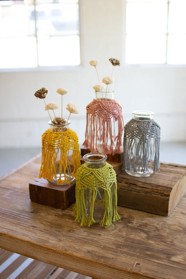 Set Of 4 Glass Bud Vases With Cotton Macrame Collars