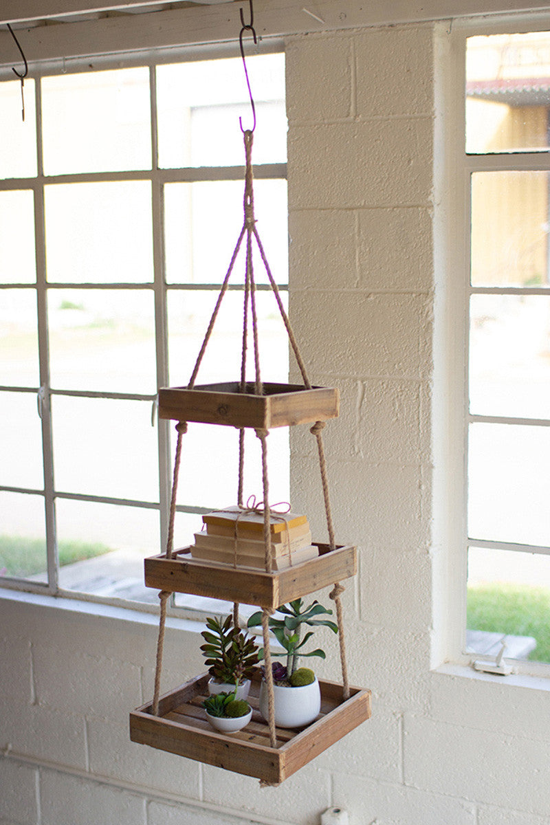 Hanging Three-Tiered Square Recycled Wood Display With Jute Rope