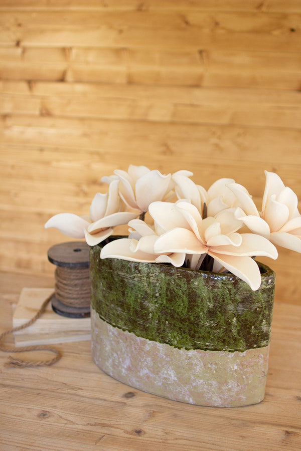 Green & Natural Oval Planter