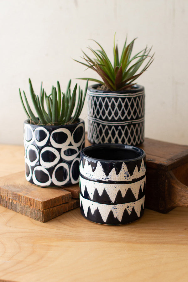 Set Of 3 Navy Ceramic Pattern Planters