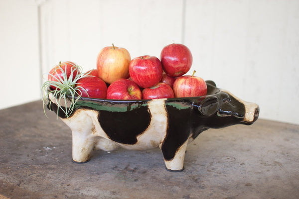 Ceramic Black & White Cow Bowl