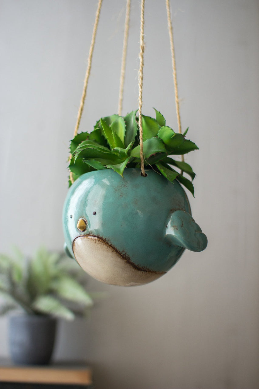 Ceramic Hanging Planter - Blue Bird - Hearts Attic