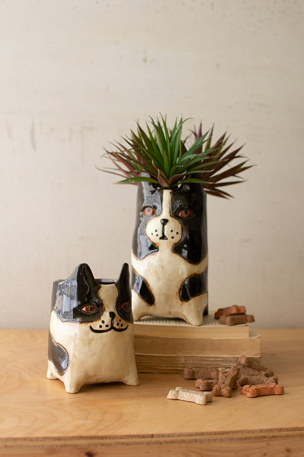 Set Of 2 Ceramic Dog Planters