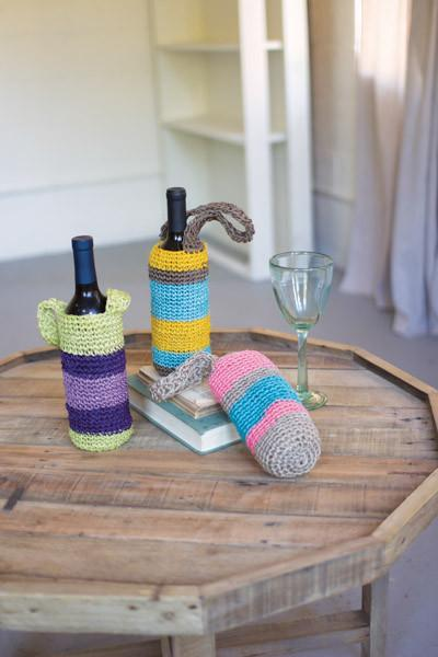 Set Of 3 Crocheted Fique Wine Bags