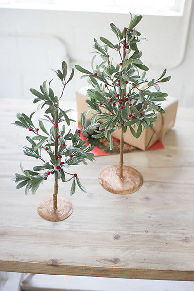 Set Of 2 Artificial Mistletoe Trees