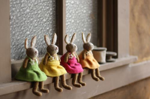 Set Of 4 Felt Rabbits - One Each Color