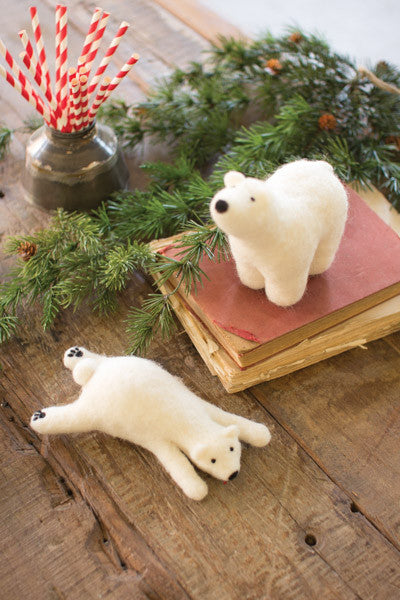 Set Of 2 Felt Polar Bears