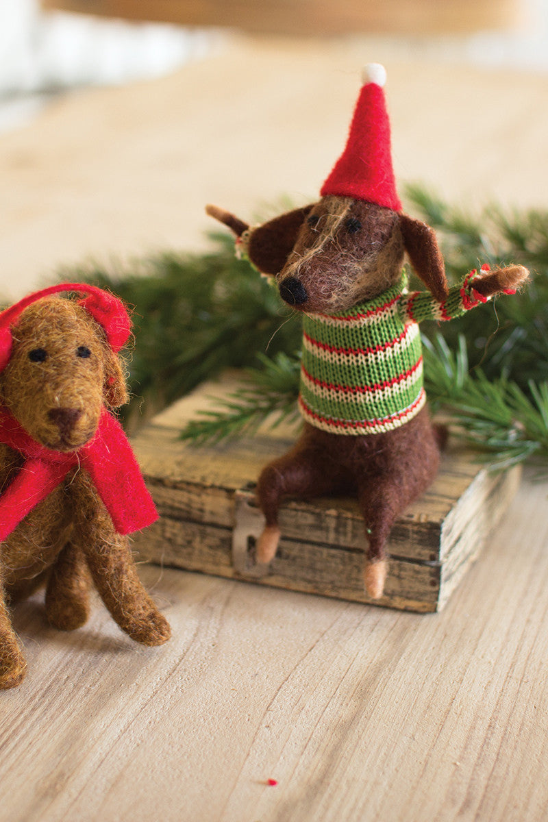 Set Of 2 Felt Christmas Dogs