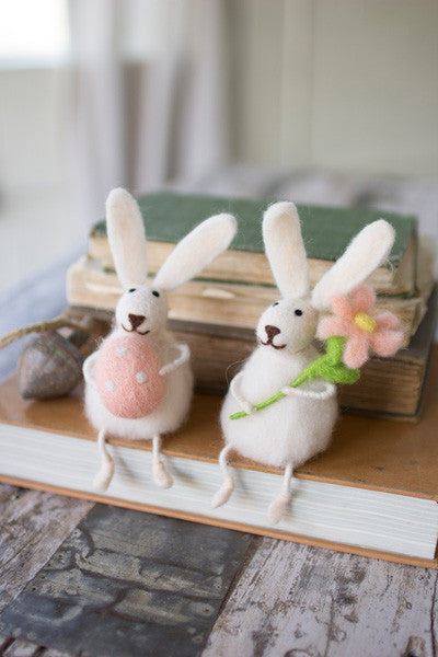 Set Of 2 Felt Rabbits With Flower & Egg