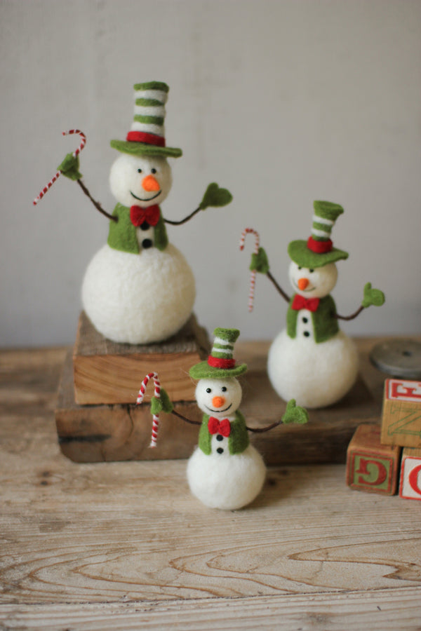 Set Of 3 Felt Snowmen Holding Candy Canes