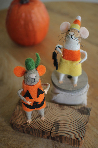 Set of 2 Felt Halloween Mice
