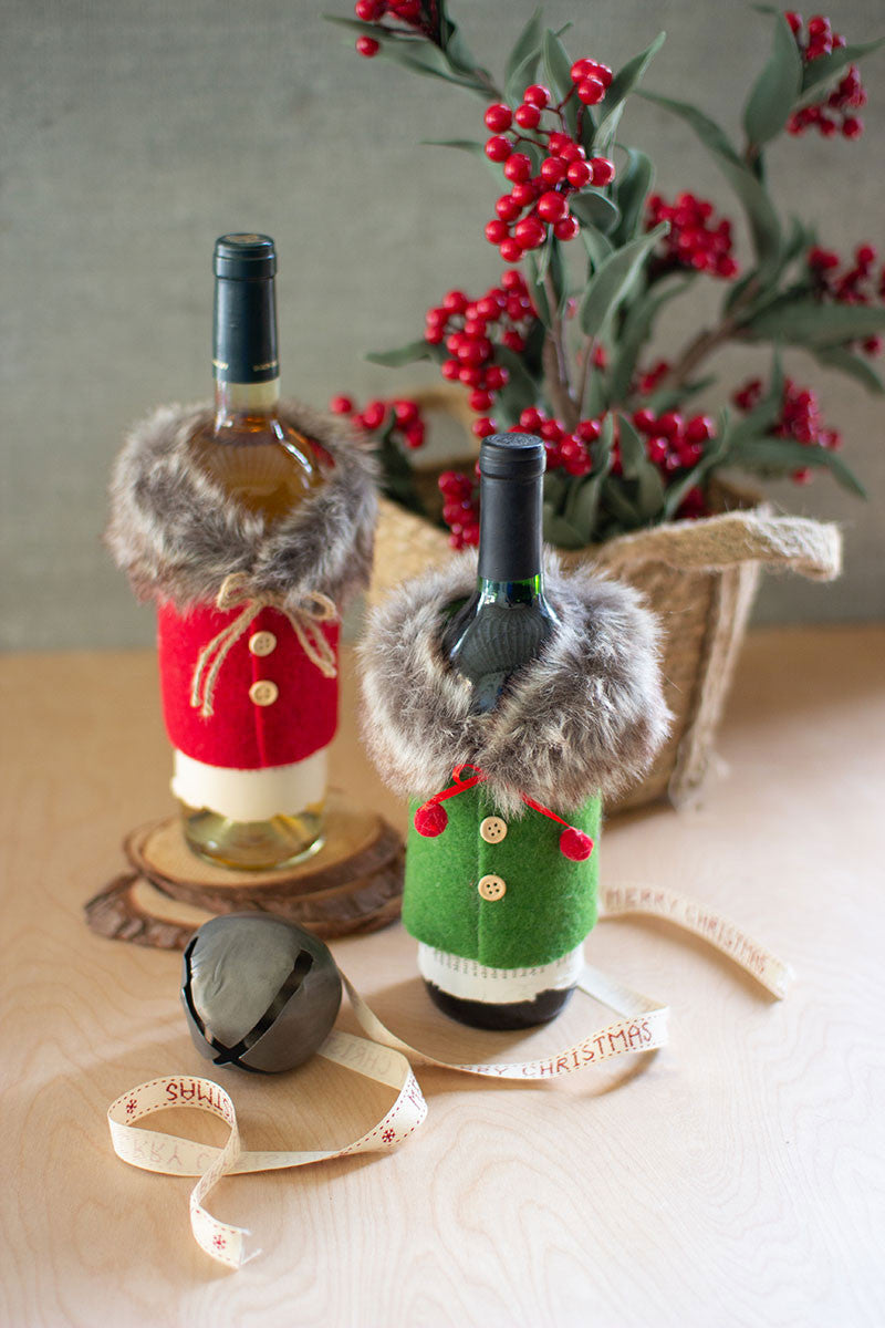 Set Of 2 Felt Sweater With Fur Collar Bottle Toppers