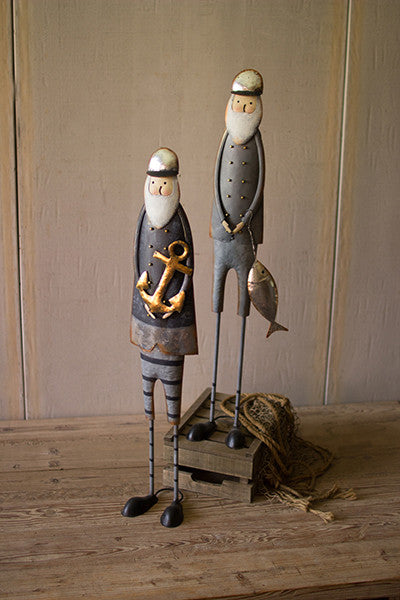 Set of 2 Painted Metal Fishermen