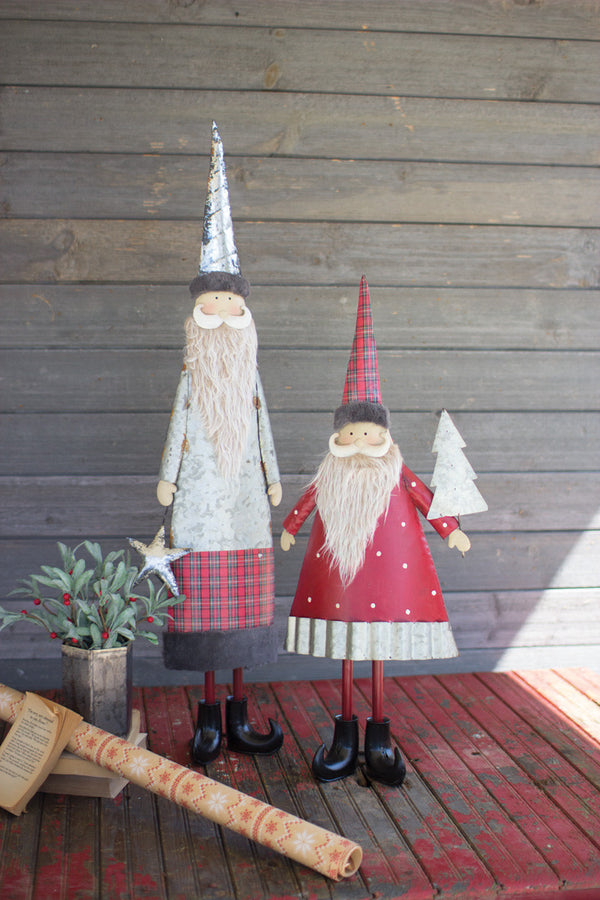 Set of 2 Metal Santas With Beards