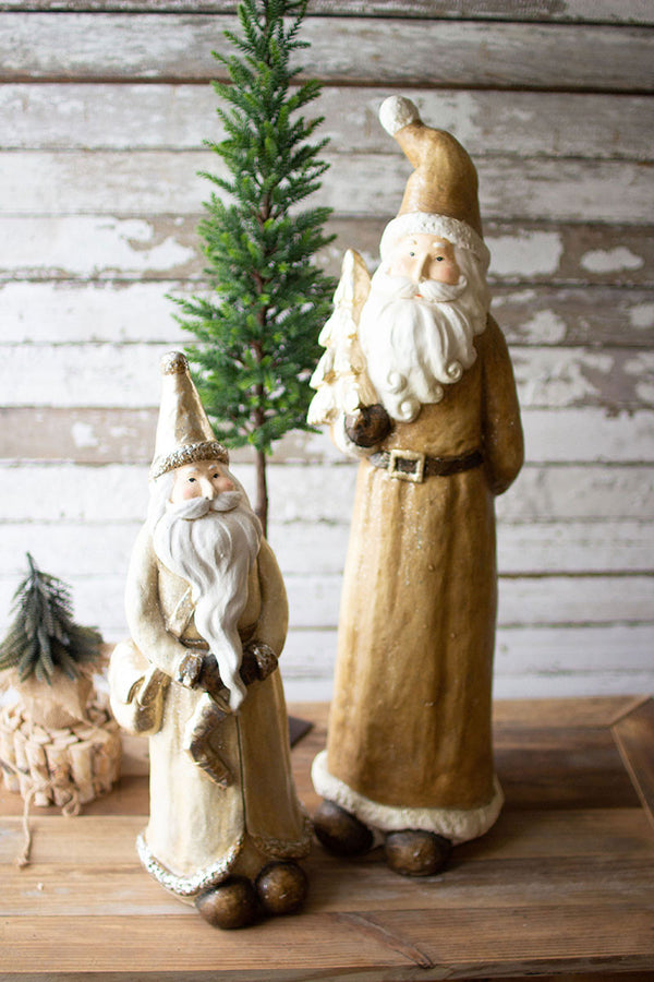 Set Of 2 Resin Santas