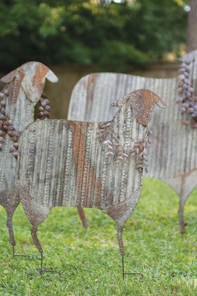 Set Of 3 Corrugated Metal Christmas Sheep Yard Art