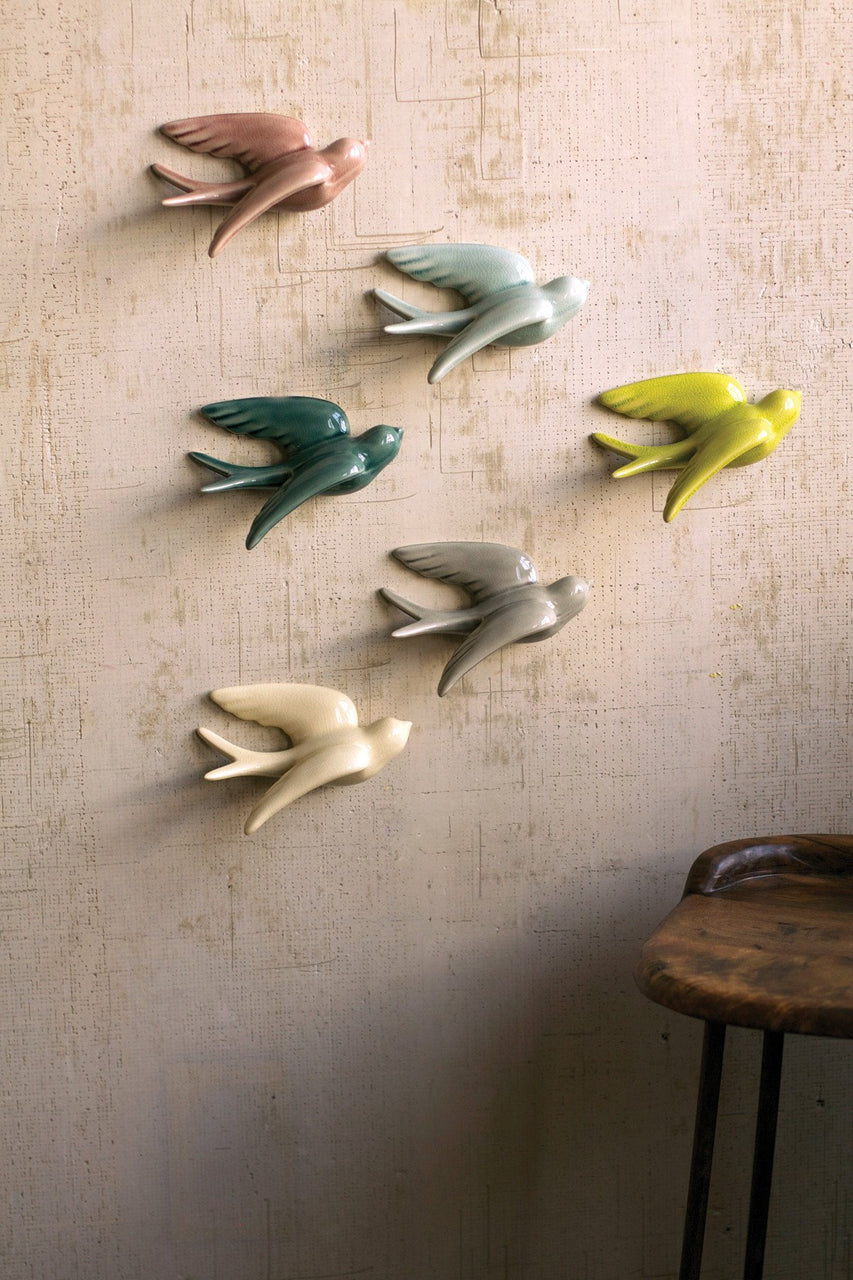 Set of 6 Ceramic Swallows- One Each Color - Hearts Attic