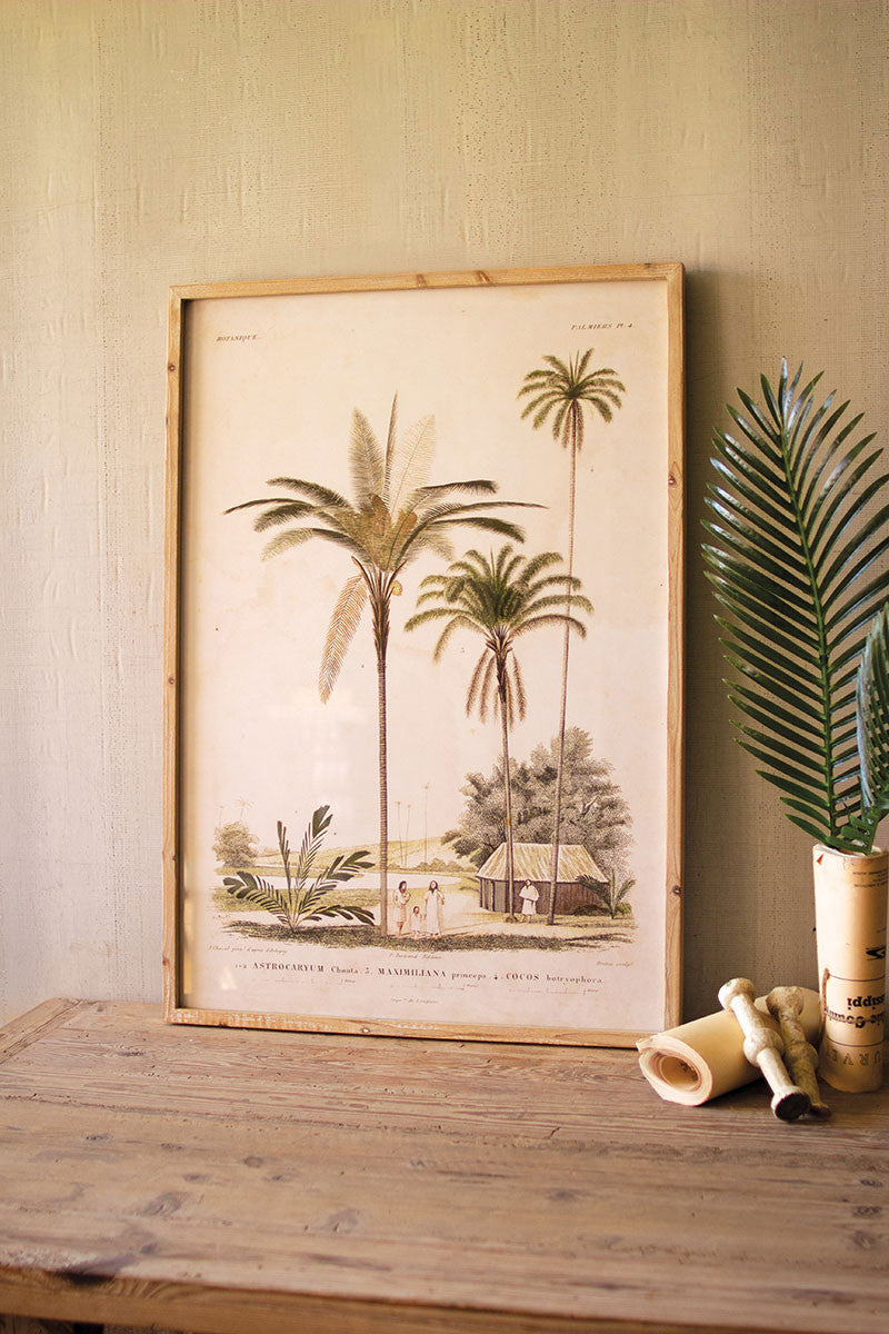 Large Framed Palm Tree Print Under Glass