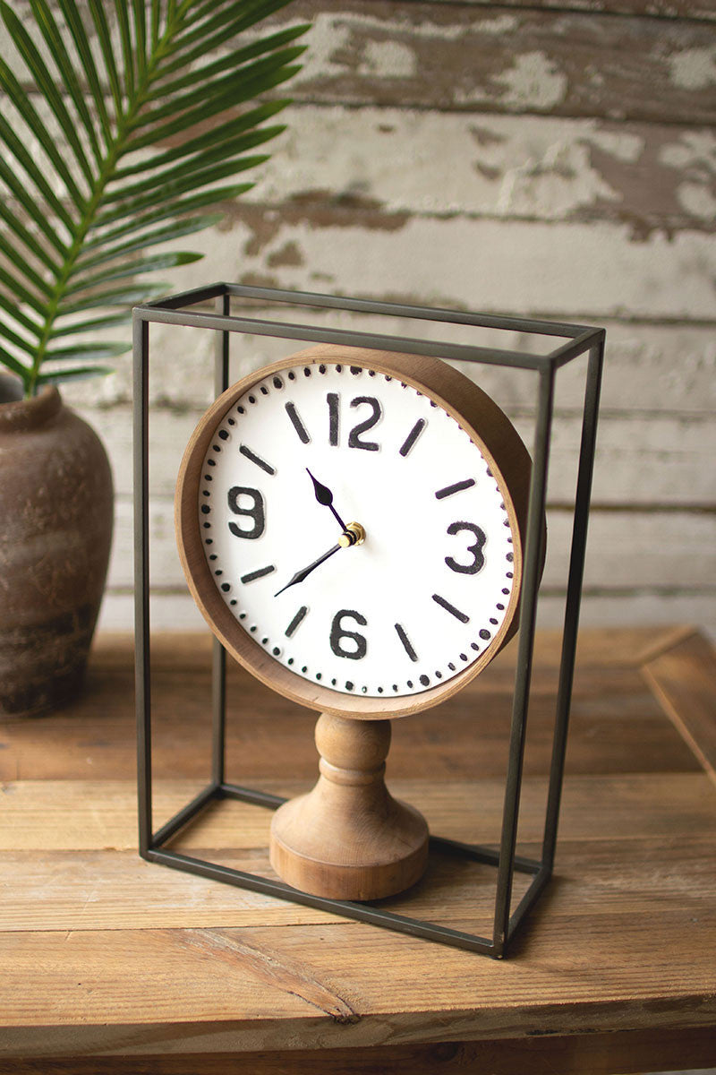 Metal Framed Tabletop Wooden Clock