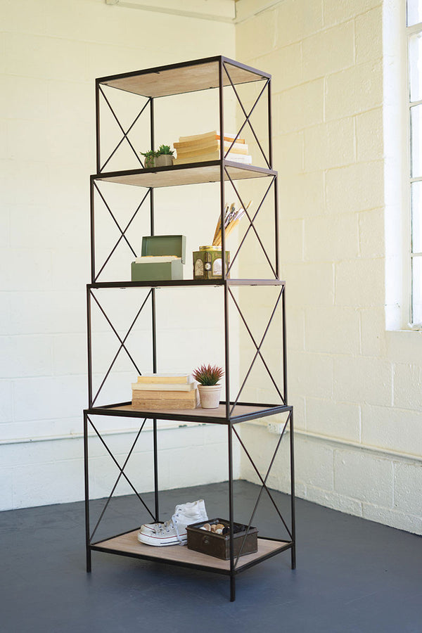 Stackable Four Tiered Metal & Wood Shelving Unit