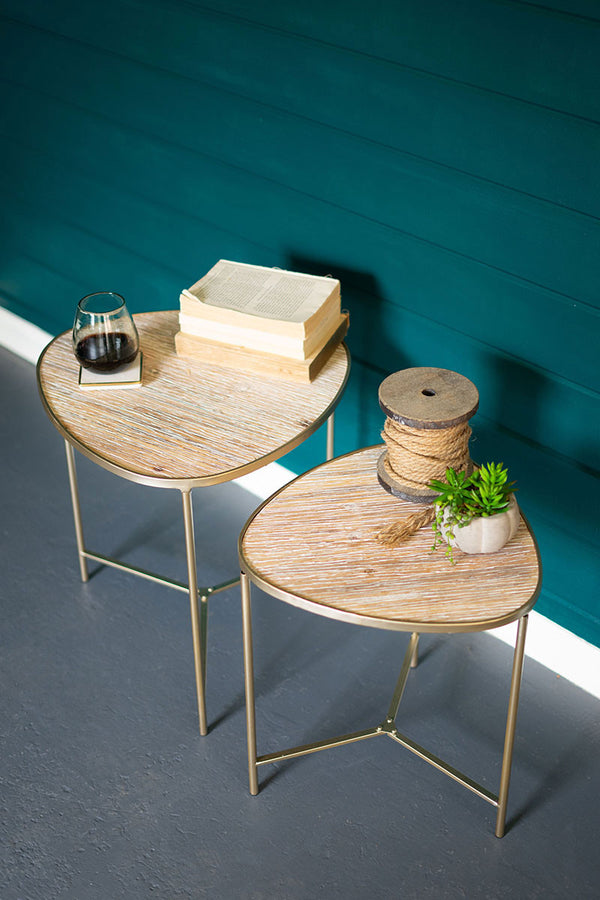 Set Of 2 Nesting Wood & Metal Tables With Gold Finish