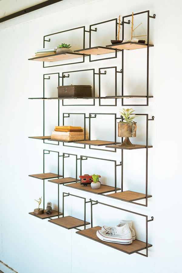Set Of 14 Wood & Metal Shelves