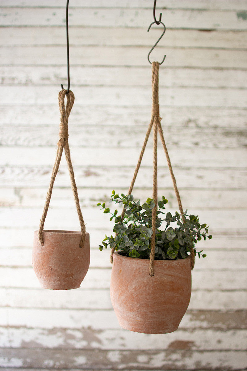 Set Of 2 Hanging Clay Flower Pots